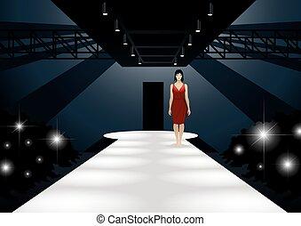Fashion model in red dress walking down a catwalk