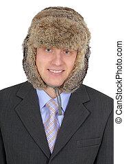Portrait of Russian businessman in fur hat