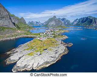Reine in Norway - Scenic aerial view of Reine, picturesque...