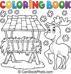 Coloring book hay rack and reindeer - eps10 vector...