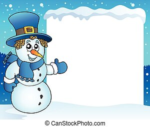 Frame with snowman topic 3 - eps10 vector illustration