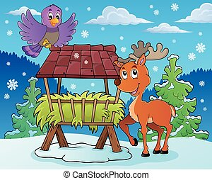 Hay rack with reindeer and bird - eps10 vector illustration