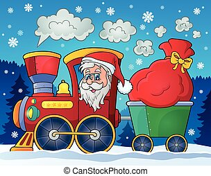 Christmas train theme image 2 - eps10 vector illustration.