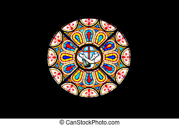 Rose window - Close up of a colored rose window from a...