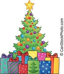 Christmas tree and gifts theme image 1