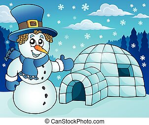 Igloo with snowman theme 3 - eps10 vector illustration