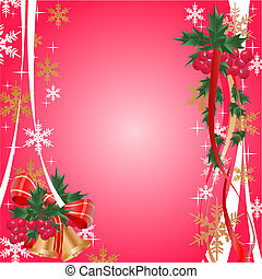 christmas banner with berry, vector