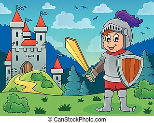 Knight in armor near castle