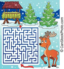 Maze 3 with hay rack and reindeer - eps10 vector...
