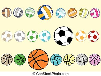 Multi-colored balls - Clipart with multi-colored football...