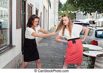 Two Women Having Physical Fight on Urban Street - Brunette...