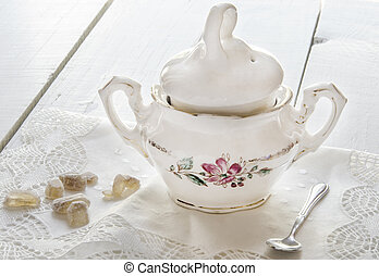 porcelain sugar bowl - An old porcelain sugar bowl with...