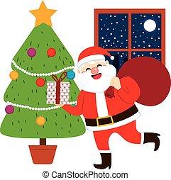 Santa Claus Bringing Gifts Tree - Happy Santa Claus bringing...