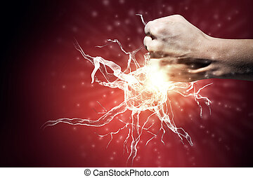 Neurology study - Close up of man hand striking nerve symbol