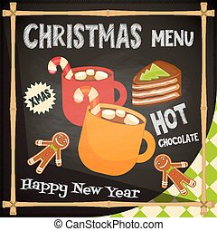 Christmas Menu - Hot chocolate, Gingerbread man and Cake....