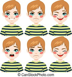 Teenage Boy Face Expressions - Teenage boy making six...