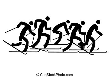 Cross country skiers - Five black stylized cross-country...