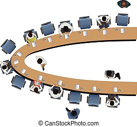 Office meeting top view set 12