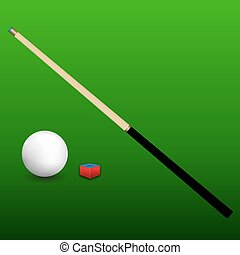 Billiard Cue, Ball and Chalk - Billiard snooker ball with...