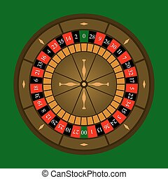 Roulette Wheel Icon - Roulette wheel icon over green...