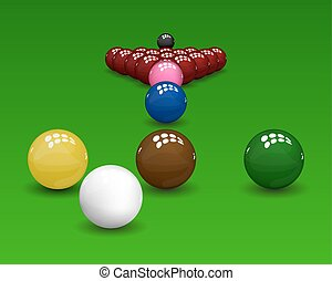 Snooker Pyramid Balls - Snooker pyramid shiny balls on green...