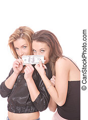 happy woman with 100 USD bill - Two casual happy woman with...