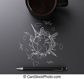 Round world concept with travel marks, pen and cup of coffee