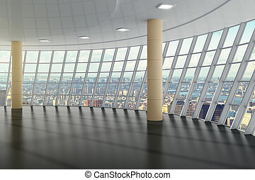 Empty hall in the business center on the top floor with city view