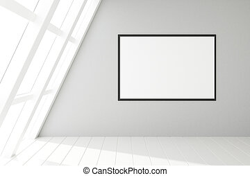 Blank frame in an empty white loft interior