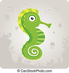Cute sea horse cartoon - The modern cute sea horse cartoon...