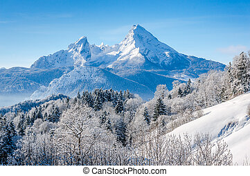 Winter landscape in the Bavarian Alps with Watzmann massif, Germany