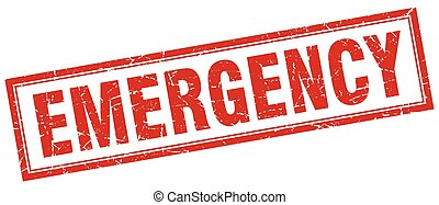 emergency red square grunge stamp on white