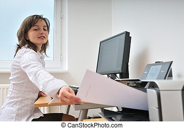 Business person working with printer - Business person...