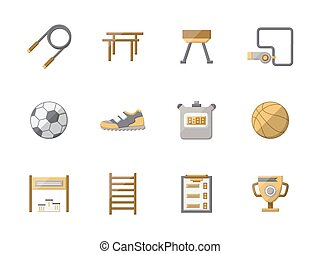 Flat style physical education color vector icons set - Set...