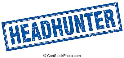 headhunter blue square grunge stamp on white