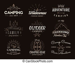 Set of retro badges and label logo graphics. Camping emblems...