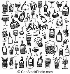 alcohol bottles doodles