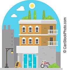 Shop front facade flat design