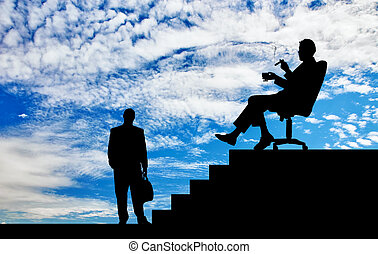 Silhouette of boss and worker