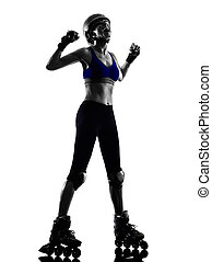 woman in roller skates silhouette - one woman in roller...
