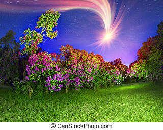 Comet over sirens - In May, Kyiv, Ukraine, blooming lilacs...