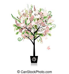 Floral tree in the pot for your design