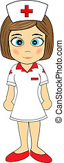 Cute Little Girl Nurse - Illustration of A cute little girl...