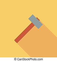 Hammer icon Flat vector related icon with long shadow for...
