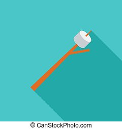 Marshmallow icon. Flat vector related icon with long shadow...