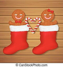 loving couple of gingerbread cookies in red socks - loving...