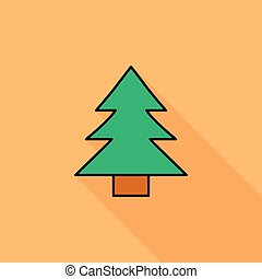 Conifer icon. Flat vector related icon with long shadow for...
