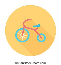 Tricycle icon. Flat vector related icon with long shadow for...