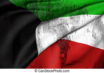 Kuwait flag - 3d rendering of an old and dirty Kuwait flag
