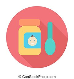 Baby food icon Flat vector related icon with long shadow for...